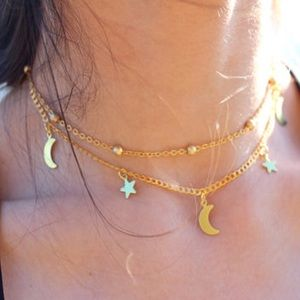 Jewelry - Moon & Star Multilayer Statement Necklace
